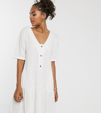 Asos Tall DESIGN Tall textured button through smock dress with tiered skirt-White
