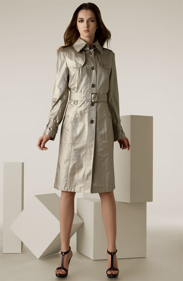 Burberry Belted Metallic Twill Trench Coat