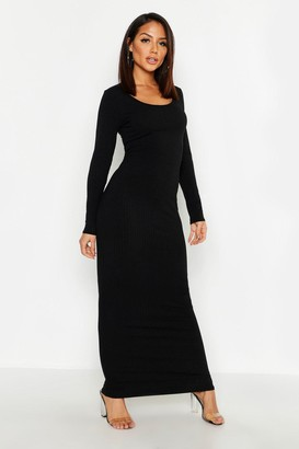 boohoo Long Sleeve Scoop Neck Ribbed Maxi Dress