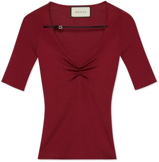 Gucci Fine viscose V-neck short sleeve top