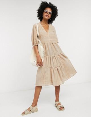 Vila oversized smock dress in tan
