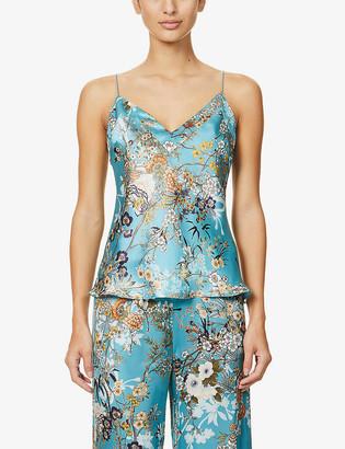 MENG Floral-pattern V-neck silk-satin pyjama top