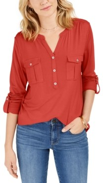 Style&Co. Style & Co Plus Size Roll-Tab Buttoned-Neck Top, Created for Macy's