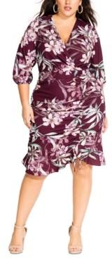 City Chic Trendy Plus Size Winter Lily Printed Faux-Wrap Dress