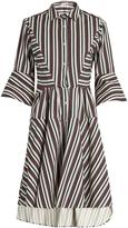 Palmer Harding PALMER/HARDING Flounce-sleeve striped cotton-blend shirtdress