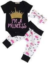 BiggerStore Newborn Baby Girls Princess Crown Print Rompers+Pants+Headband 3Pcs Outfits Set (0-3 Months, )