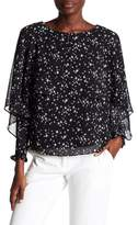 Laundry by Shelli Segal Star Print Flutter Sleeve Top