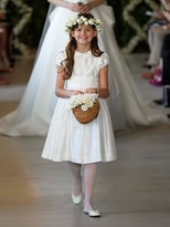Oscar de la Renta Silk Cap-Sleeve Flower Girl Dress