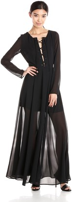 Glamorous Women's Tie Front Maxi Dress