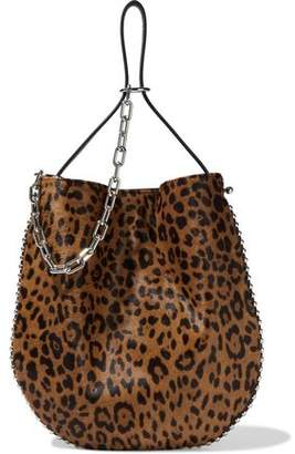 Alexander Wang Roxy Bead-trimmed Leopard-print Calf Hair And Pebbled-leather Shoulder Bag