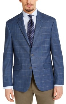 Kenneth Cole Reaction Men's Slim-Fit Stretch Blue & Tan Windowpane Sport Coat, Created for Macy's