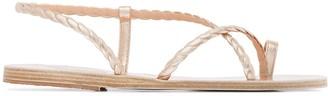 Ancient Greek Sandals Metallic Fysi Leather Sandals