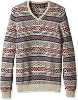 Izod Men's Big and Tall Fairisle 1/4 Zip Sweater