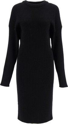 Bottega Veneta RIBBED KNIT MIDI DRESS S Black Wool, Cotton