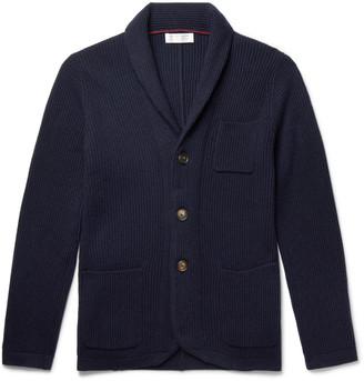 Brunello Cucinelli Shawl-Collar Ribbed Virgin Wool, Cashmere And Silk-Blend Cardigan
