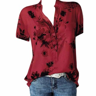 Andouy Women Fashion Printing Pocket Plus Size Short Sleeve Blouse Casual Easy Top Shirt Elegant Clothing Red