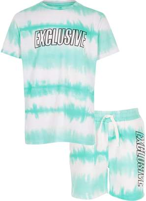 River Island Boys Blue tie dye T-shirt and short outfit