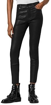 AllSaints Miller Studded Skinny Jeans in Coated Black