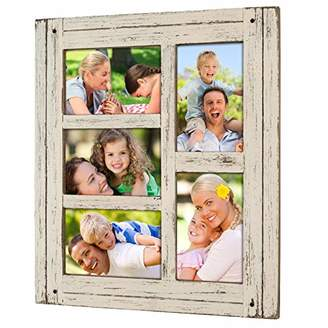 Collage Picture Frames from Rustic Distressed Wood: Holds Five 4x6 Photos: Ready to Hang or use Tabletop. Shabby Chic