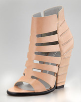 Cage-Line Cuban-Heel Sandal, Fawn