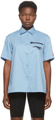 Heron Preston Blue Poplin Baseball Shirt