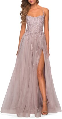La Femme Floral Embroidered Tulle Gown