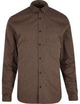 River Island MensBrown zig zag textured slim fit shirt