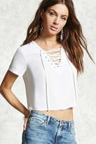 Forever 21 FOREVER 21+ Woven Lace-Up Top