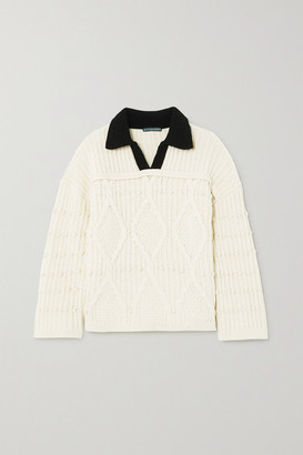 ALEXACHUNG Cable-knit Wool Sweater - Ecru