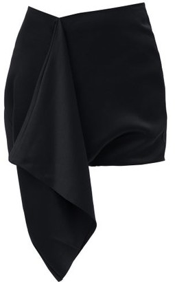 Atlein - Draped Satin Mini Skirt - Black
