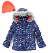 Hawke & Co Midnight Wildflower Bubble Jacket & Beanie - Girls
