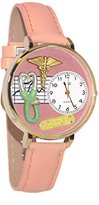 Whimsical Watches Women's G0620031 Unisex Gold Nurse 2 Pink Leather And Goldtone Watch