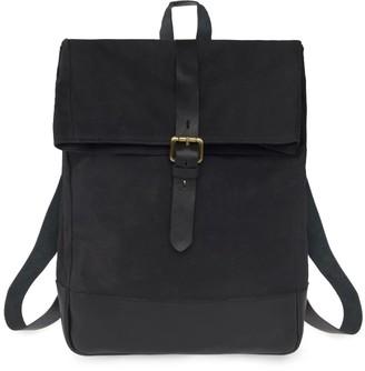 Vida Vida Canvas Leather Mens Black Roll Top Backpack