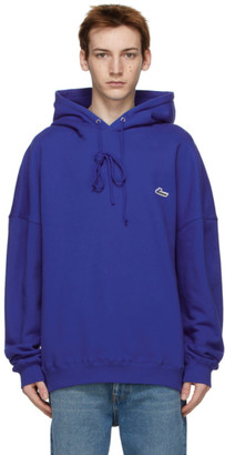 we11done Blue Embroidered Logo Hoodie
