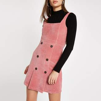 River Island Womens Pink button front cord pinafore dress