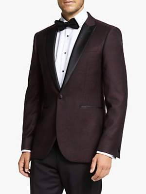 John Lewis & Partners Peak Italian Wool Jacquard Semi Plain Tailored Dress Suit Jacket