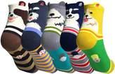 WEILAI Women Novelty Cartoon Dog Pattern Cotton Crew Socks 5 pairs