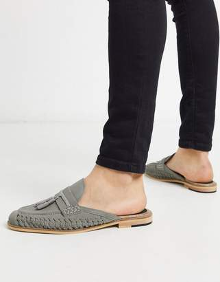 House of Hounds solar woven backless mule loafers in gray suede