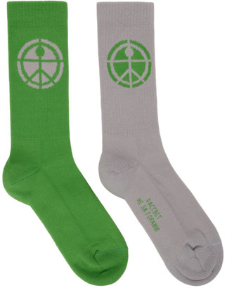 Rassvet Grey and Green Jacquard Socks