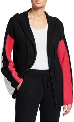 Neiman Marcus Cashmere Colorblock Zip-Front Hoodie