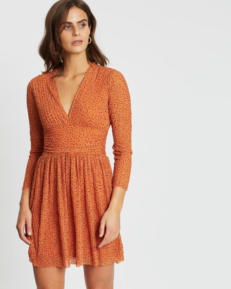 French Connection Printed Long Sleeve Ruched Waist Dress