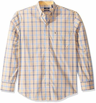 Izod Men's Button Down Long Sleeve Stretch Performance Plaid Shirt