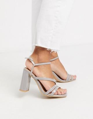 New Look multi strap sqaure toe heeled sandals in grey
