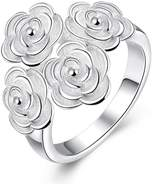 Aries Womens Exquisite Aesthetic Flower Silver Plated Rings
