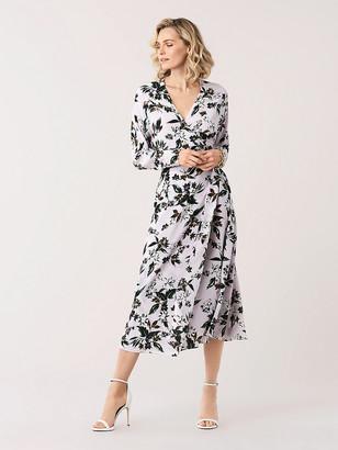 Diane von Furstenberg Elle Silk Crepe de Chine Midi Wrap Dress