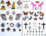 GGSELL GGSELL fashion design hot selling temporary tattoo stickers combination 6pcs/package different designs, it includes butterflies/stars/square/skull/cross/horse/dog/eyes/etc. by GGSELL Temporary tattoos