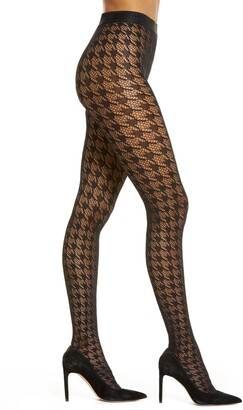 Wolford Dylan Houndstooth Fishnet Tights