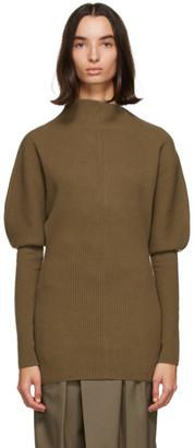 Low Classic Khaki Wool Asymmetric Sweater