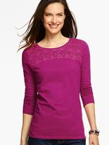 Talbots Lace-Trimmed Round-Neck Tee