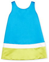 Helena Sleeveless Satin Colorblock Shift Dress, Royal, Size 7-14